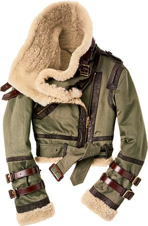 burberry cropped shearling aviator jacket