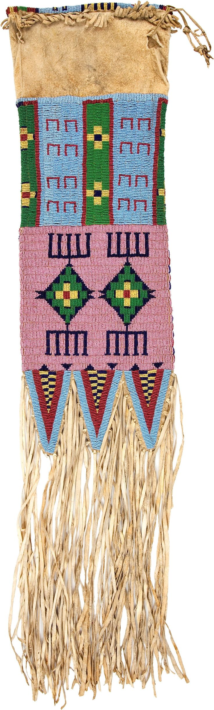 A SIOUX BEADED HIDE TOBACCO BAG. c. 1890... American Indian | Lot #50058 | Heritage Auctions
