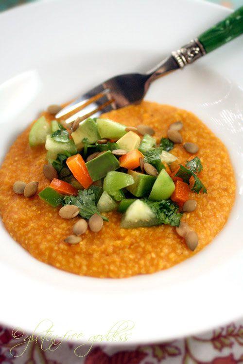Gluten-Free Goddess Recipes: Pumpkin Polenta Recipe with Tomatillo-Avocado Sals...