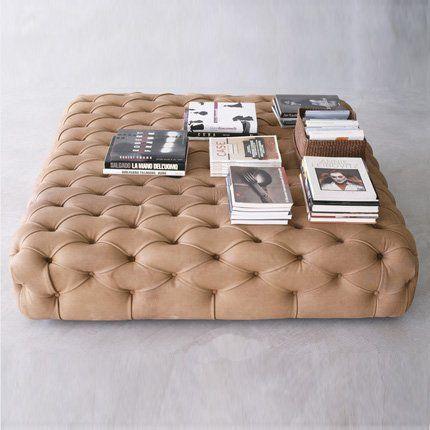 Pouf capitonné en cuir vieilli en forme de carré - De Padova - absolutely gorgeous beige leather ottoman