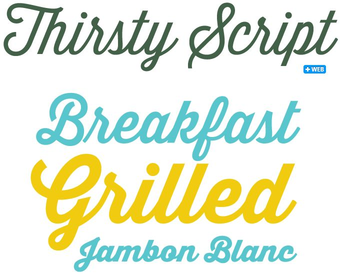 """Designer Ryan Martinson of Yellow Design Studio cites an impressive range of typefaces that have influenced Thirsty Script: the font is described as """"a marriage of elements from vintage signage scripts, Wisdom Script, Deftone Stylus, Lobster and even Proxima Nova."""" The result is a cursive script with a handmade feel. It is friendly with an edge — part retro script, part modern sans serif italic."""