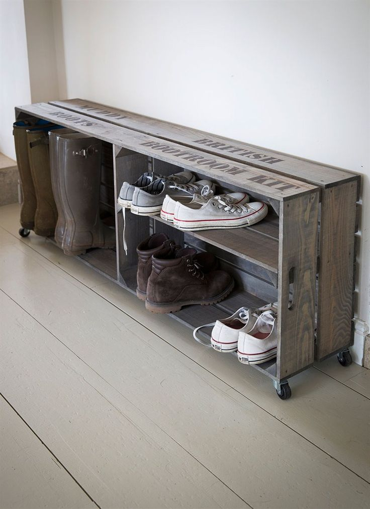 Crate style organisation, designed to fit large wellies and various trainers that need stowing near the backdoor.