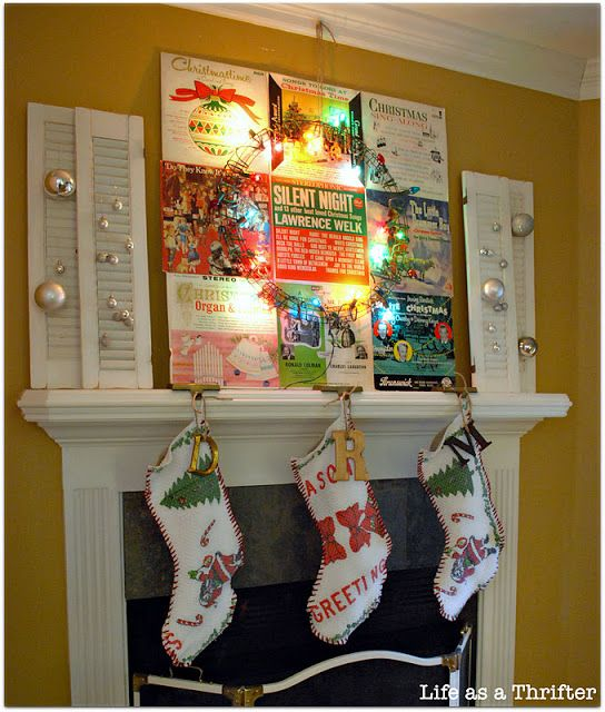 #Vintage #Christmas #Mantel via Life as a Thrifter.  Could use regular old album covers for everyday...