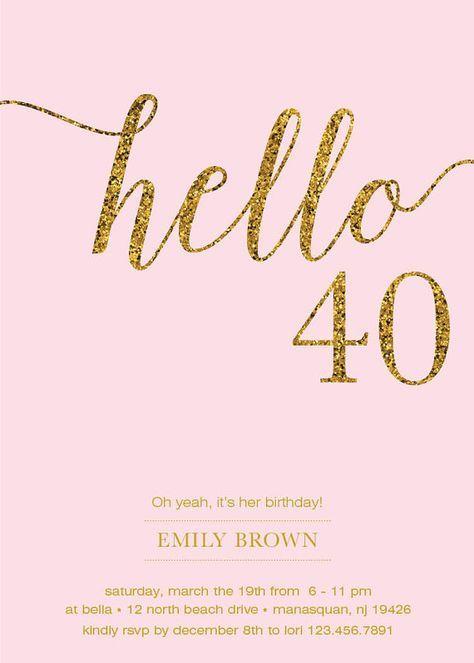 40.o invitación de cumpleaños moderna hoja de oro por prettypress