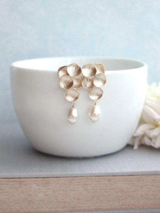 Gold Grape Ivory Teardrop Pearls Earrings. Ivory by Marolsha