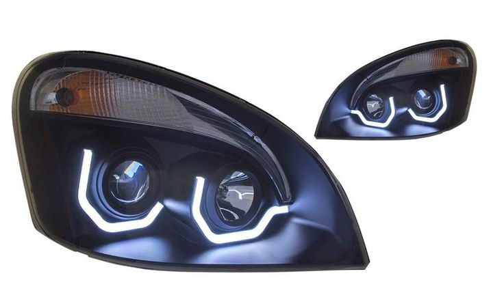 Cascadia Head Lamp Black Reflector Driver,Lh W/Light Bar Amber/White Led H1.H7