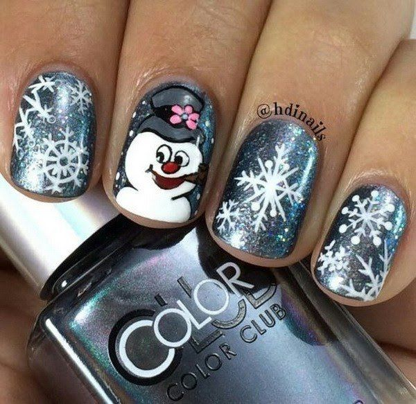 Frosty Snowman Nail Art for Christmas.