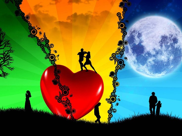 Nice Beautiful Romance | red heart and moon and three couples - Romantic Love wallpap...