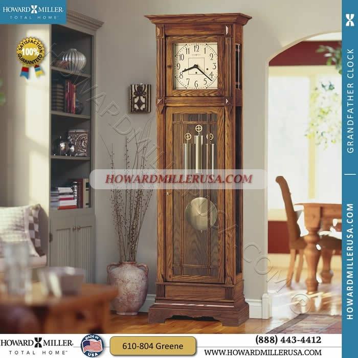 610-804 Howard Miller Floor Grandfather Clock  This grandfather clock In the tradition of the Arts and Crafts Guilds, famous for their handcrafted, simple, honest, and pure design.  Floor clock has a cream dial continues the simplicity with dark brown corner accents, numerals, and hands. Decorative wooden moldings nicely frame the dial.  Floor clock finished in Heritage Oak on select hardwoods and veneers.  You will receive a free heirloom plate wiht your grandfather