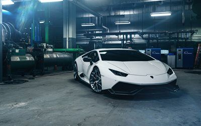 Download wallpapers Lamborghini Huracan, Sport car, tuning Lamborghini, white Huracan, garage, Italian sports cars