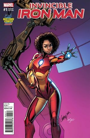 Invincible Iron man cover. The J. Scott Campbell variant of Riri Williams in her superhero suit remains available