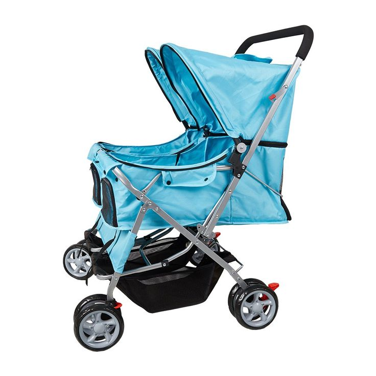 Dporticus 4 Wheel Pet Stroller Foldable TwoSeater Carrier