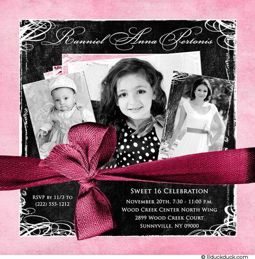 Soft Pink Bordered Childhood Photos Sweet 16 Invitation