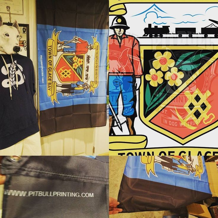 """Pitbull Printing is proud to announce that we now have Glace Bay Flags available!  Our old town slogan was the absolute best so we're unapologetically bringing it back. """"FROM THE DEPTHS OF THE SEA AND THE EARTH."""" This is the English translation of """"Ex Fundo Maris et Terrae"""" which is Latin.  We don't really hear people speaking Latin these days so decided to put the English translation on these awesome flags.  The following info was taken from the Glace Bay Heritage Museum about the town…"""