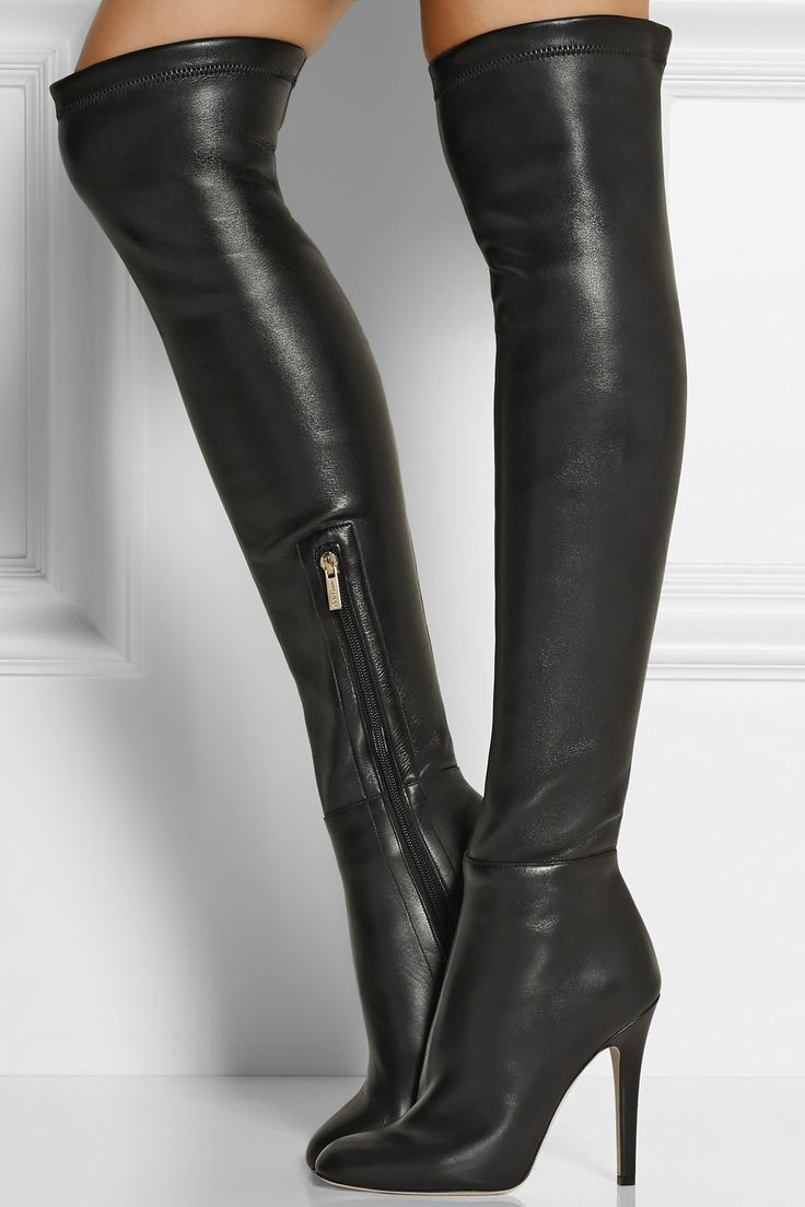 Jimmy Choo | Turner stretch-leather thigh boots | NET-A-PORTER.COM