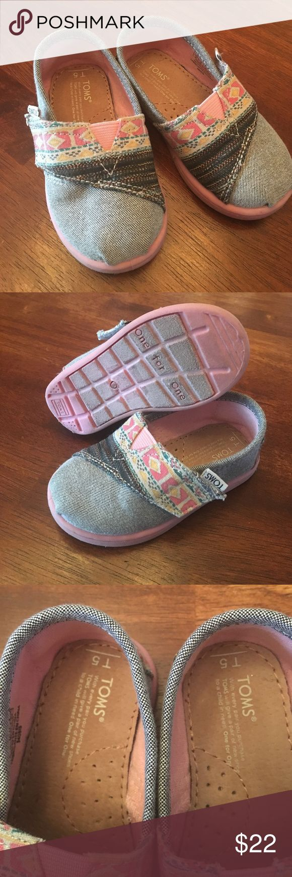 Kids TOMS Grey and pink toms for kids.  Only  wore once or twice, missed the size window with my daughter. TOMS Shoes