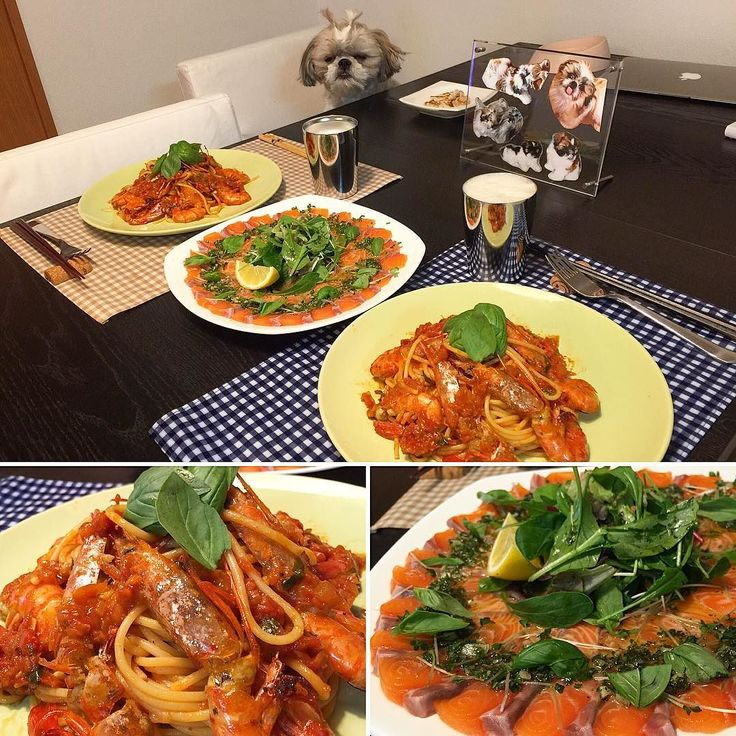 今夜の貴族の晩餐はGWも終わっちゃうということでイタリイヤァンな赤海老のトマトパスタとオーロラサーモンのカルパッチョをヤラカシたよ( ) ではでは( ω)( ω)かんぱーい  #貴族の晩餐 #シーズー #愛犬まゆげ #イタリイヤァン by mayuge0807
