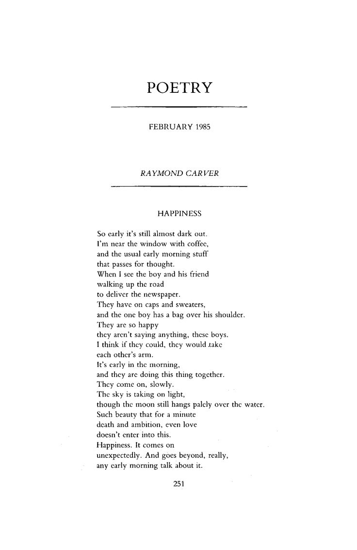 Happiness by Raymond Carver