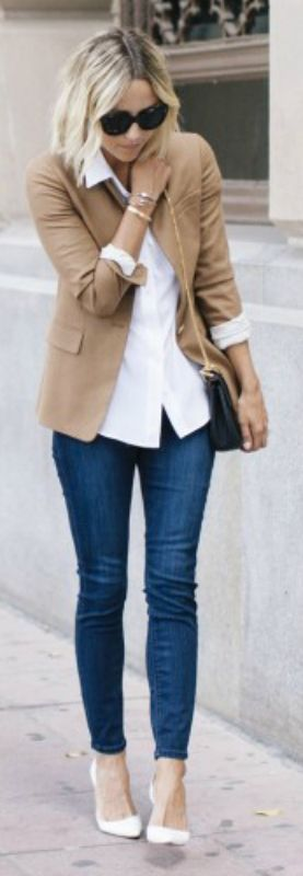 A great transitional outfit going from Summer to Fall. Camel blazer, white shirt, skinny denim leggings and white shoes. Via Jacey Duprie  Blazer: J.Crew Regent, Bralette/Jean Leggings: Express, Blouse: Equipment, Bag: Chloe, Shoes: Manolo Blahnik