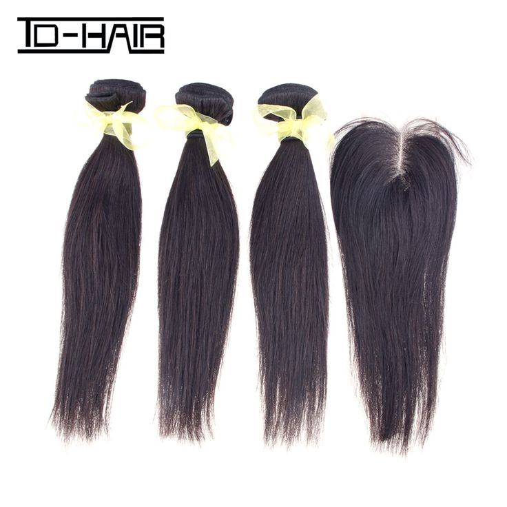 ТД Продукты ВОЛОС Малайзийские Виргинские волосы Прямые 1B # 100% необработанные Малайзии человеческих Волос Связки с Закрытие Наращивание Волос