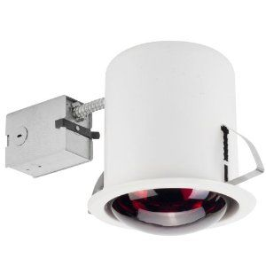 Globe Electric 90057 6 inch Recessed Lighting Kit, Bathroom Heat Lamp, White Finish, Flood Light from Globe Electric