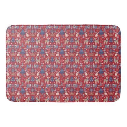 Scandinavian Christmas Winter bath decor red navy Bathroom Mat - winter gifts style special unique gift ideas