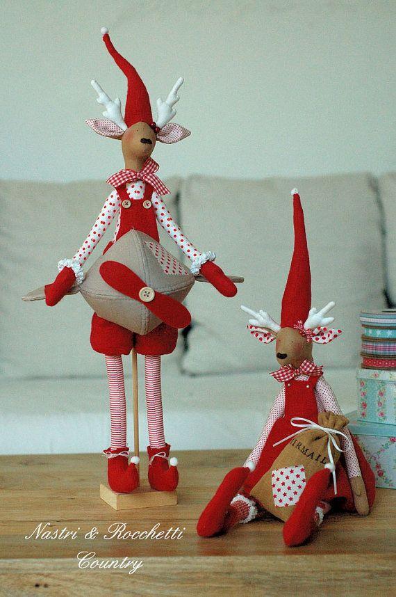 Christmas reindeers Italian PDF por Nastrierocchettishop en Etsy