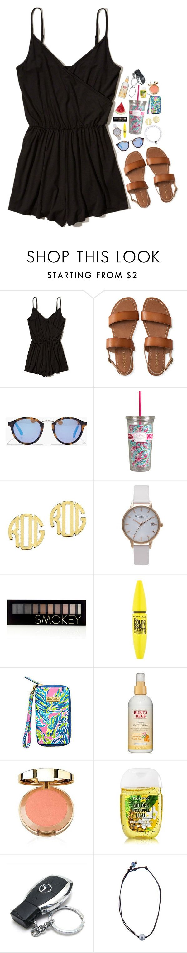 """happy friday!"" by theblonde07 ❤ liked on Polyvore featuring Hollister Co., Aéropostale, Madewell, QVC, Olivia Burton, Forever 21, Maybelline, Lilly Pulitzer, Burt's Bees and Mercedes-Benz"