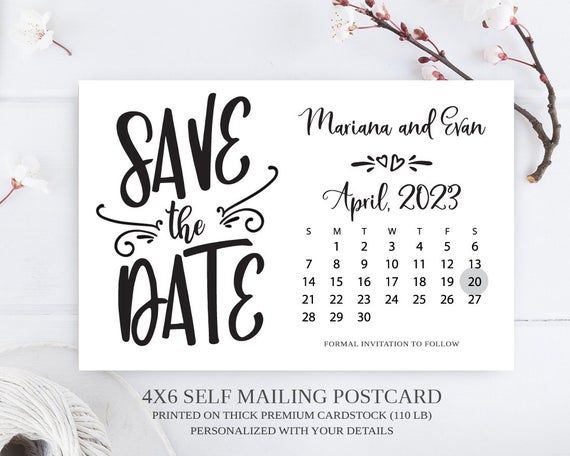 Postcard Save the Dates Printable Save the Dates Printed Save the Dates Photo Save the Date Postcards Black and White Save the Dates