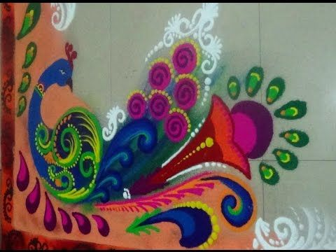 Diwali special Rangoli Best Peacock Rangoli Designs - YouTube
