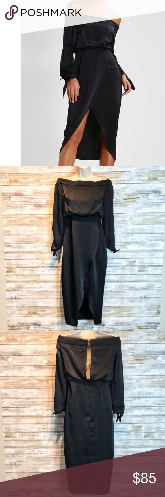 NWT Lavish Alice Summer dress sz S NWT Lavish Alice Summer black dress   Off shoulder, keyhole back, scalloped high front, Long back.  Pic measurements are shoulders, bust , & waist.   Front length is 17in back 29in  100% polyester NO STRETCH Lavish Alice Dresses
