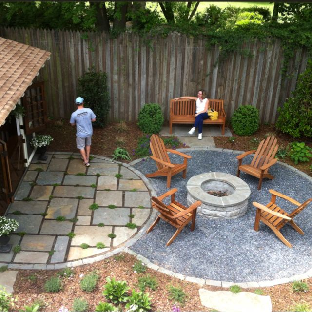Simple patio ides - half burrying some bricks as a border and the putting gravel down for a walk-way area.