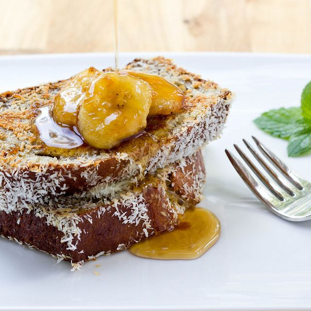 Coconut crusted banana bread french toast If it were pumpkin bread ...