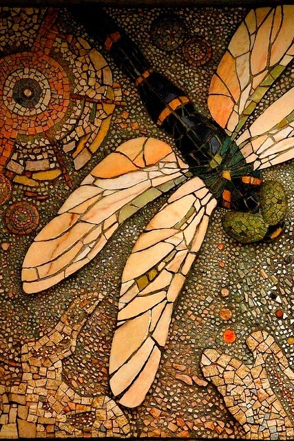 I like how the dragonfly in the foreground is in lager size tiles. The use of all the different size pieces is brilliant.