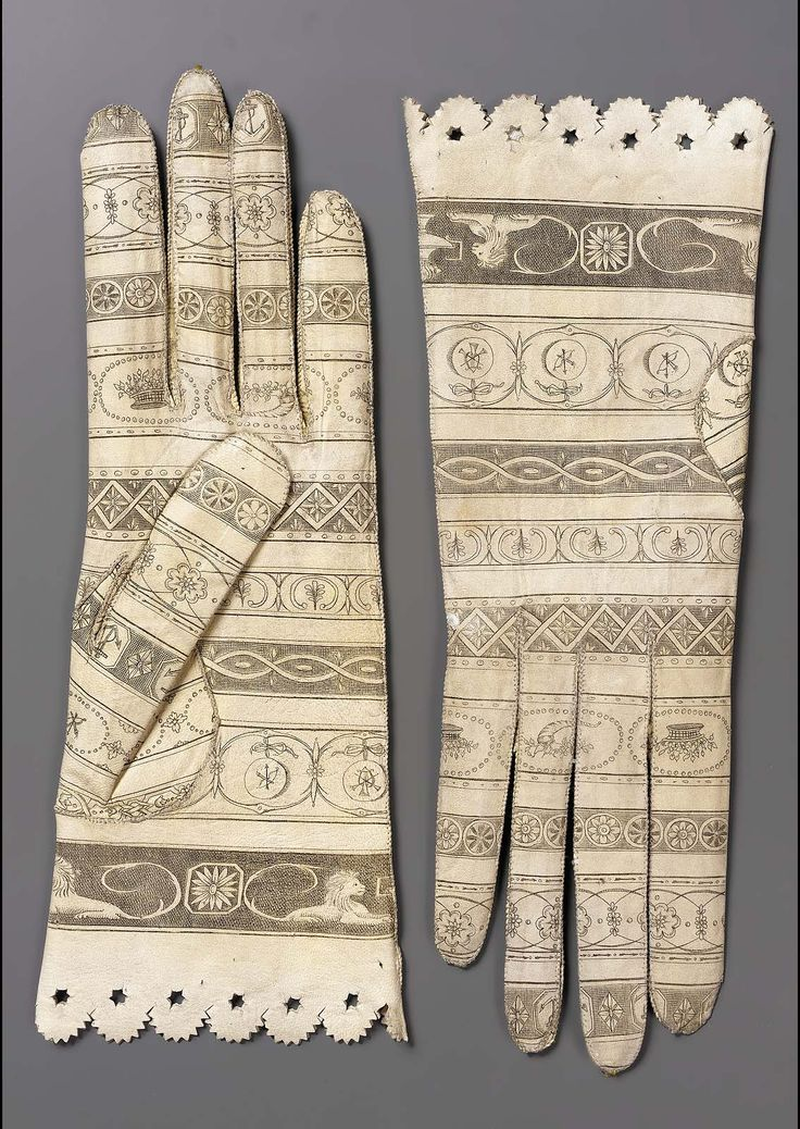 Women's Gloves, Late 18thc., Made of printed leather