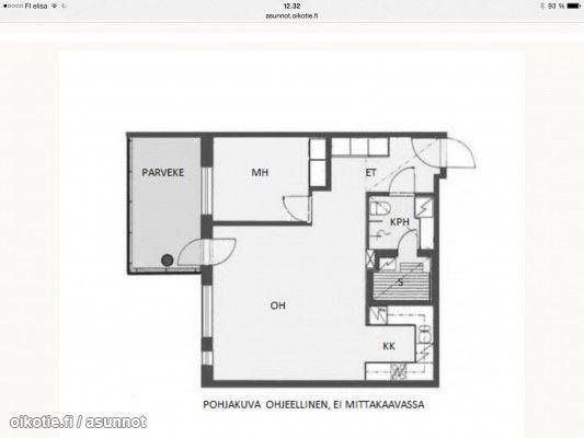 2 rooms + open kitchen + sauna + balcony (56m2) / kaksio avokeittiöllä + sauna + parveke (56m2) #kaksio #pohjapiirros #floorplan