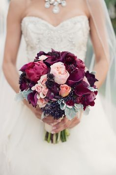 Romantic Burgundy Bouquet - See the wedding here: http://www.StyleMePretty.com/california-weddings/2014/03/27/san-diego-garden-inspired-beach-wedding/ Joshua Aull Photography - www.joshuaaull.com | Floral Design:   Adorations.com | On #SMP