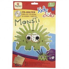 """Coole CD-houder """"Monti"""".  De CD-houder """"Monti"""" biedt plaats aan  12 CDs. De houten elementen kunnen heel gemakkelijk uitgeduwd en dan met verf aan beide kanten beschilderd worden. Daarna met Glitter Glue versieren. De grappige wiebelogen opplakken, de verschillende delen samenbouwen en klaar is de CD-houder. € 12,00. (kijk op www.sienenco.nl)"""