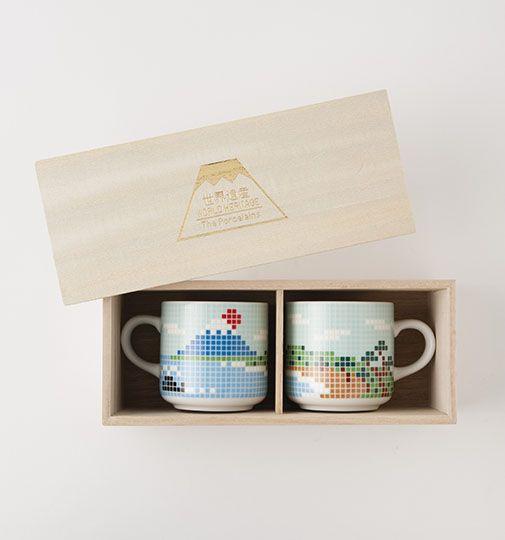 The Porcelains 長崎 富士山マグカップ ペア(木箱入り)