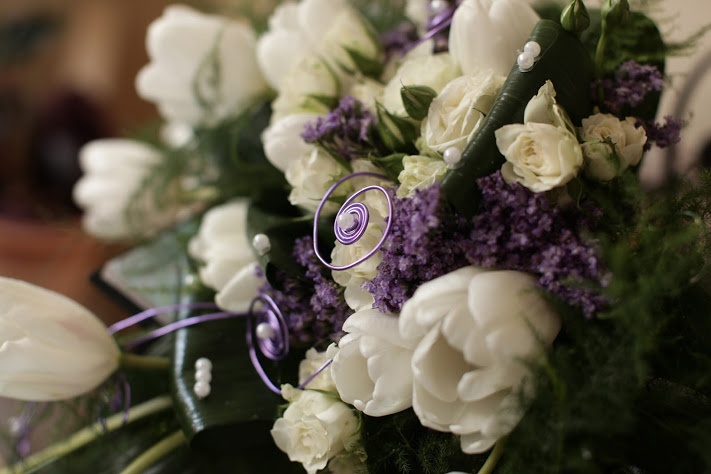 Wedding bouquet with spring...