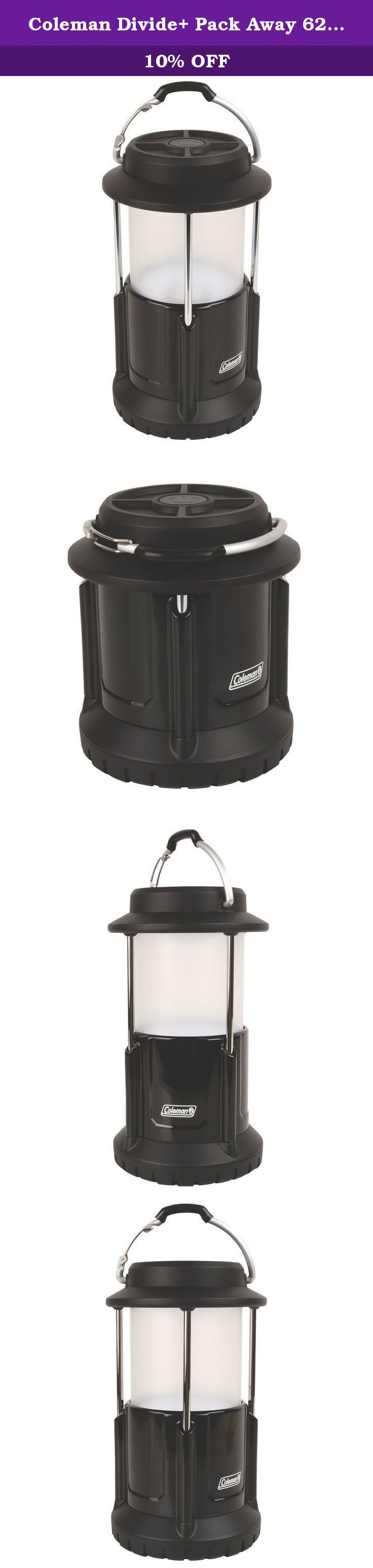 Coleman Divide+ Pack Away 625 lm LED Lantern with Battery Lock. Grab the power of a full-size lantern in the palm of your hand with the Coleman Divide+ pack-away 625L LED lantern. When you're not using it, this lantern collapses to half its size for compact storage. In addition, its battery lock system stops battery drain, so you'll have the power you need when you need it most. On a normal lantern, there is typically some residual drain as long as the battery is connected in the circuit...