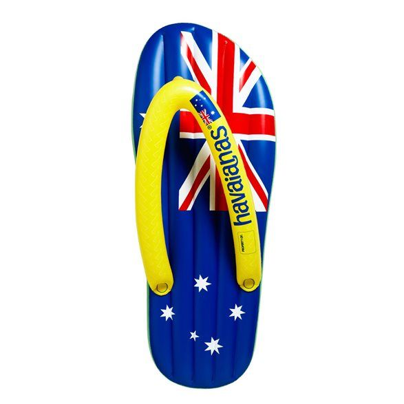 Green/Blue Aussie Flag Inflatable. Float on a flag for the best Australian summer! Patriotic green with gold straps and an Aussie flag front plus matching carry case make this Havaianas giant inflatable thong the envy of the beach! Inflated measurements 165x65x16cm.