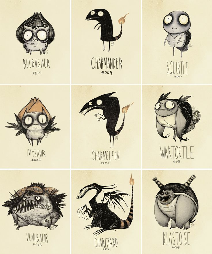 Pokemon, Tim Burton style. Actually the cutest thing ever.