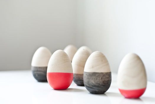 Dip dyed wooden eggs by Six and a Half Stitches
