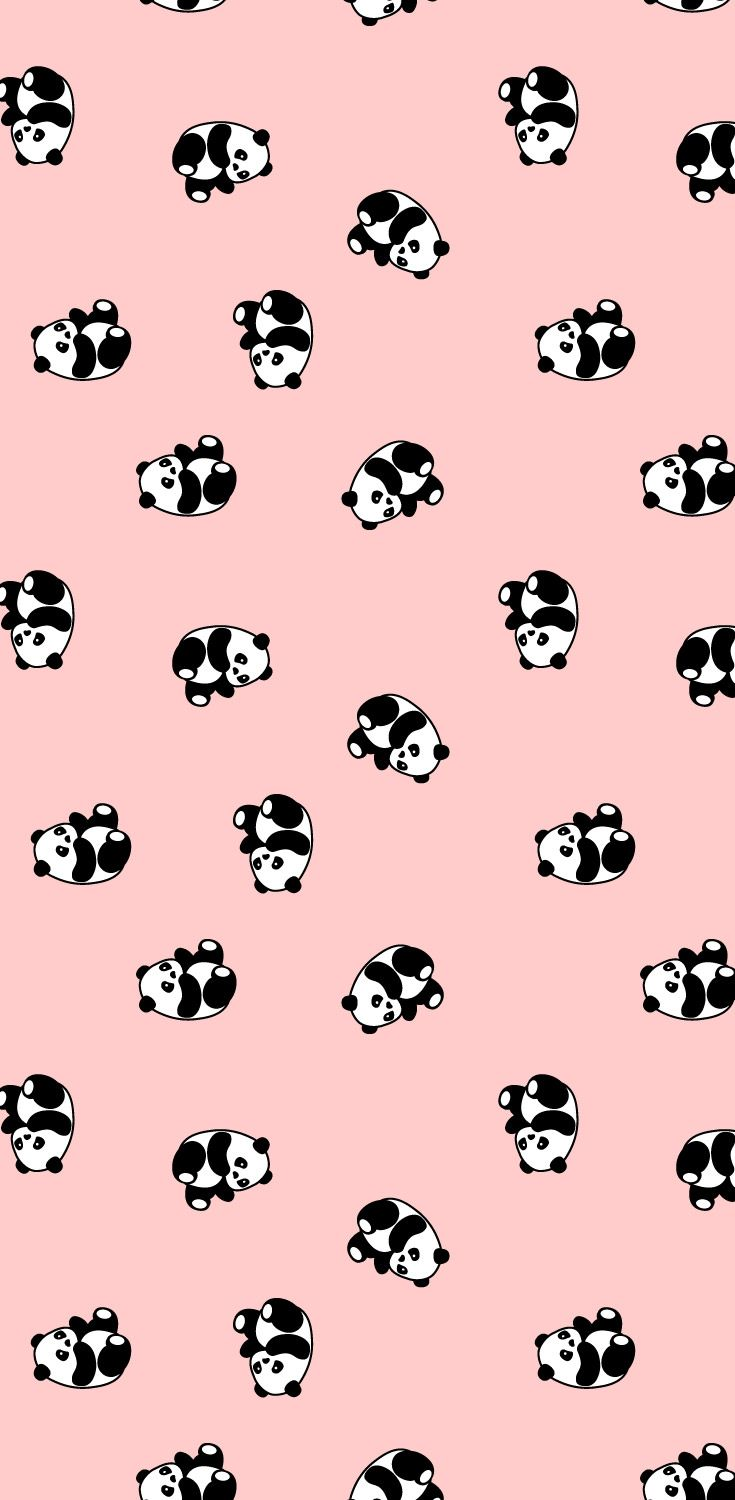 Cute panda bear, babies nursery wallpaper pattern.