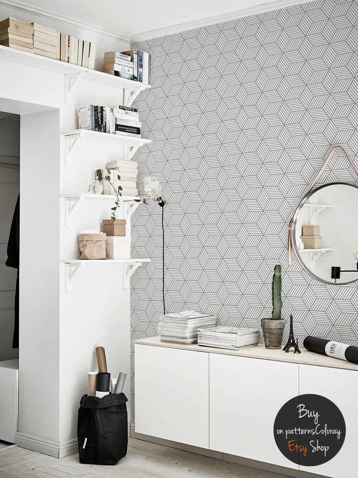 Gris géométriques cubes pattern, fond amovible, style scandinave #65 par patternsCOLORAY sur Etsy https://www.etsy.com/fr/listing/498984995/gris-geometriques-cubes-pattern-fond