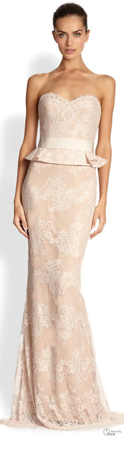 Notte By Marchesa ●  Lace Peplum Gown