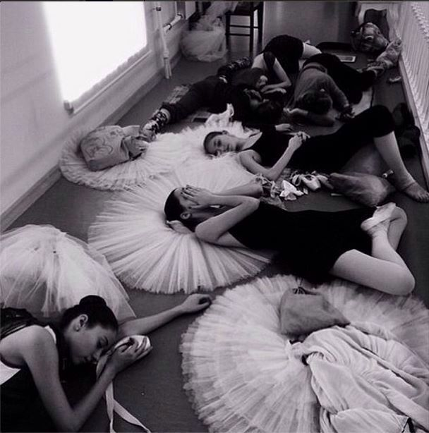 Absolutely love this picture of a backstage ballet class!
