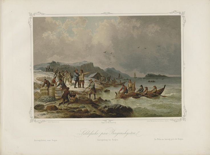 Norske Folkelivsbilleder - Adolph Tidemand - Sildefiske paa Bergenskysten. jpg (1280×946)