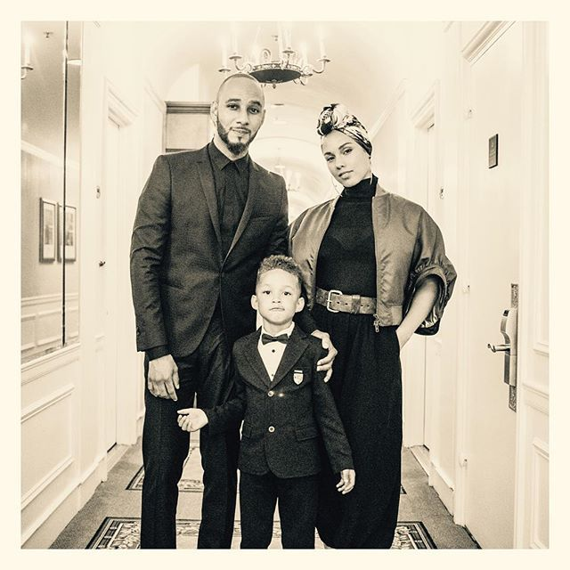 Pin for Later: Stars Celebrate Mother's Day Weekend With Their Loved Ones Alicia Keys The singer posed for a black-and-white snap with her husband, Swizz Beatz, and their son.
